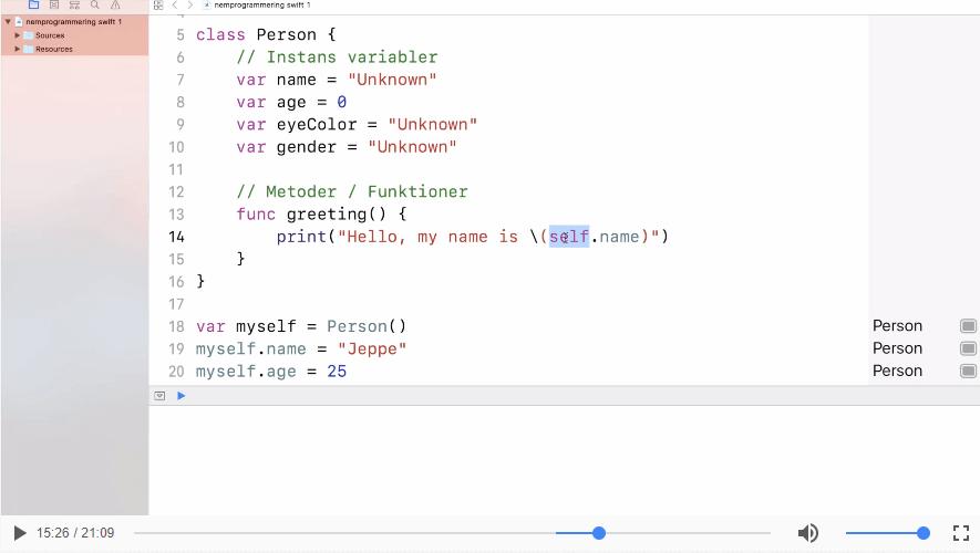 Objekt orienteret programmering (OOP) i SWIFT