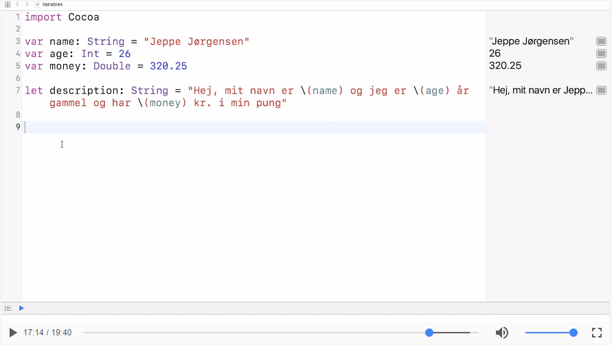 Variabler, konstanter og typer i SWIFT