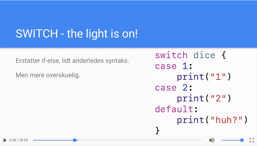 Nested conditionals og SWITCH i SWIFT