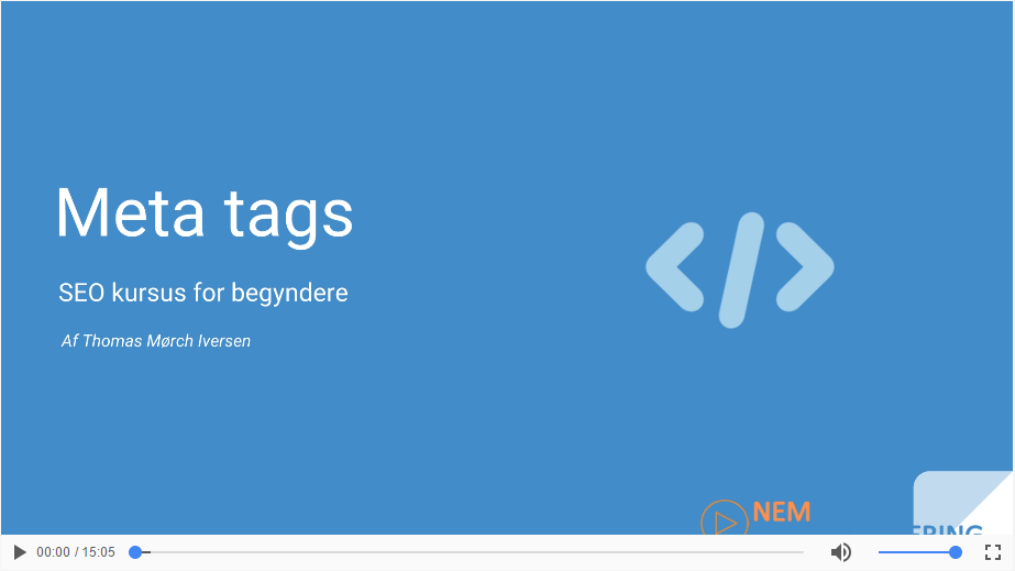 Meta-title, meta-beskrivelse og url