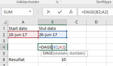 DAGE360 formel for dage mellem datoer